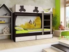 Кровать двухярусная Мишутка СН-108.01